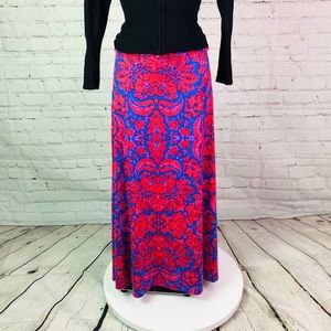Blue/ Red LuLaRoe Maxi Skirt Sz Small